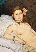 Nudes Framed Prints - Olympia Framed Print by Edouard Manet