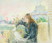 Cards Pastels Framed Prints - On the Balcony Framed Print by Berthe Morisot