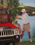Golfer Paintings - On The Turn Two by Debra Chmelina