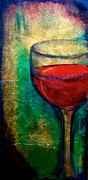 Wine Glass Mixed Media Posters - One More Glass Poster by Debi Pople