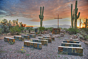 Saguaros Posters - Outdoor chapel Poster by Jim Wright