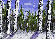 Handmade Trunk Posters - Painting of White Birch Trees in Winter Poster by Keith Webber Jr