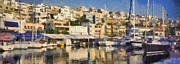 Panorama Art - Panoramic painting of Mikrolimano by George Atsametakis