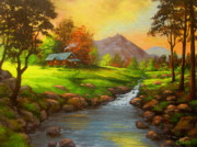 Fall River Scenes Painting Posters - Paradise  Valley  Poster by Shasta Eone