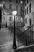 Night Lamp Framed Prints - Paris Street Framed Print by Brian Jannsen