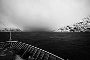 Passenger Ferry Prints - Passenger Ship Sailing Along The Coast Of The Norwegian Sea During Winter Norway Europe Print by Joe Fox