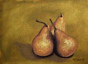 Pears Pastels Framed Prints - 3 Pear Study Framed Print by Marna Edwards Flavell
