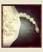 Gold Necklace Metal Prints - Pearls Metal Print by HD Connelly