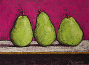 Fushia Framed Prints - 3 Pears Magenta Framed Print by Marna Edwards Flavell