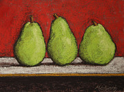 Trio Pastels Prints - 3 Pears Print by Marna Edwards Flavell
