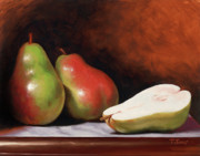 Table Top Framed Prints - 3 Pears Framed Print by Timothy Jones