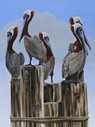 Fauna Painting Metal Prints - Pelicans Five Metal Print by Phyllis Beiser