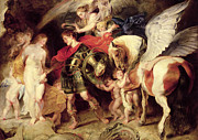Unicorn Paintings - Perseus liberating Andromeda by Peter Paul Rubens