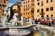 Historic Statue Painting Framed Prints - Piazza Navona in Rome Framed Print by George Atsametakis