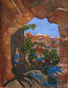 Park Landscape Mixed Media Originals - Pine Tree Arch by BJ Tuininga