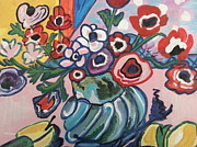 Anemones Paintings - Poppies and Anemones by Nikki Dalton