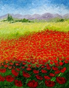 Rural Landscapes Mixed Media Metal Prints - Poppy Field Metal Print by Saima  Naveed