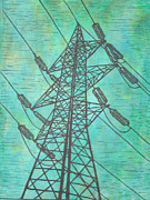 Linocut Drawings Originals - Power by William Cauthern