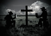 Praying Metal Prints - Praying Cowboys Metal Print by Christine Till