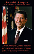Flag Of The United States Posters - President Ronald Reagan Poster by Official White House Photograph
