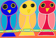 Matthew Brzostoski - 3 Primary Colored Owls