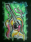 Guitare Posters - Prints available.  Original Sold. Poster by Gayla Hollis