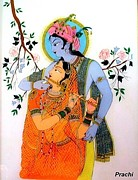 Traditional Glass Art - Radha Krishna by Prachi Arora