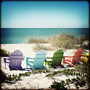 Chris Andruskiewicz Prints - Rainbow Beach Chairs Print by Chris Andruskiewicz