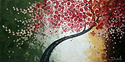 Cherry Blossoms Painting Originals - Red Blossoms by Tomoko Koyama