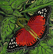 Debbie Chamberlin Posters - Red Butterfly Poster by Debbie Chamberlin