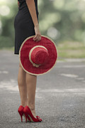 Sun-hat Prints - Red Sun Hat Print by Joana Kruse