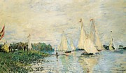 Sailboat Ocean Framed Prints - Regatta at Argenteuil Framed Print by Claude Monet