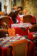 Wine Glasses Prints - Restaurant patio in France Print by Elena Elisseeva