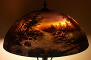 Painted Glass Art - Reverse Painted Lamp by Nancy Magnell
