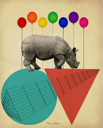 Kids Room Posters - Rhino Poster by Mark Ashkenazi