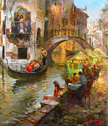 Balcony Painting Framed Prints - Romance in Venice  Framed Print by Ylli Haruni
