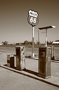 Pumps Prints - Route 66 Gas Pumps Print by Frank Romeo