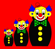 3 Russian Clown Dolls On Red Print by Asbjorn Lonvig