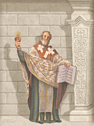 Devotional Painting Prints - Saint Augustine Print by John Alan  Warford