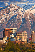 Mormon Temple Photo Acrylic Prints - Salt Lake City Skyline Acrylic Print by Utah Images