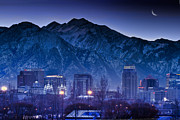 Snowy Night Photo Posters - Salt Lake City Utah Skyline Poster by Utah Images