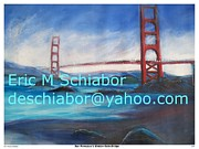 Bridge Drawings Framed Prints - San Francisco Golden Gate Bridge Framed Print by Eric  Schiabor