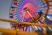Motion Photos - Santa Monica Pier Ferris Wheel and Roller Coaster at Dusk by Scott Campbell
