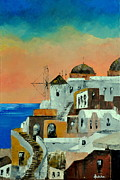 Staircase Painting Originals - Santorini by Ambika Jhunjhunwala