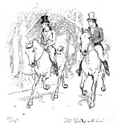 Horse Drawings - Scene from Pride and Prejudice by Jane Austen by Hugh Thomson