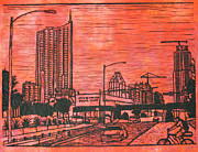 Block Print Drawings - Seaholm by William Cauthern