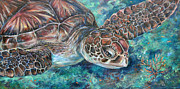 Sea Turtles Paintings - Serenity by Li Newton