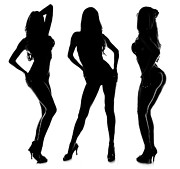 Thin Framed Prints - 3 Sexy Modeling Silhouettes Framed Print by Jt PhotoDesign