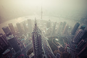Co2 Photos - Shanghai Pudong skyline by Fototrav Print