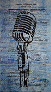 Linoleum Prints - Shure 55s on music Print by William Cauthern